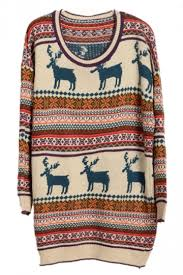 28 66 womens reindeer striped tacky sweater