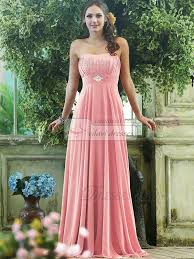 pink bridesmaid dresses pleated a line chiffon strapless floor length with crystals and