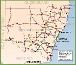 map of new south wales new south wales road map