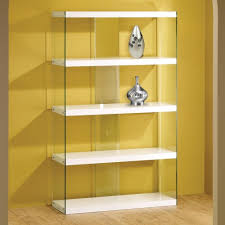white glass display cabinet bookcase floating shelves contemporary