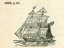 antique sailing boat brig ship illustration stock photo 152135097