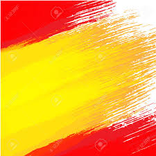Flags In Spanish Grunge Background In Colors Of Spanish Flag Royalty Free Cliparts