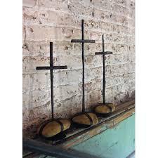 rustic crosses kalalou rustic iron scrap metal crosses w caged rock bases set of