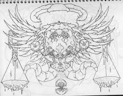 gothic chest piece tattoo outline sketch by infernothebloodhound