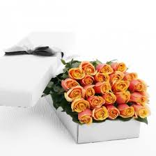 Roses In A Box Two Dozen Peach Blend Roses In A Box Online Order To Philippines