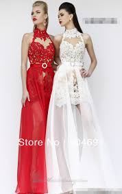 online shop new chiffon lace prom dress white red choker neck