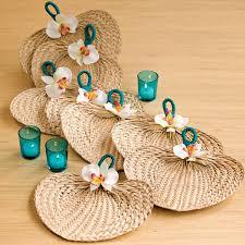 raffia fans diy embellished raffia fan bridalguide