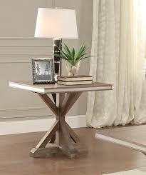 light wood end tables homelegance beaugrand end table light brown with stainless steel