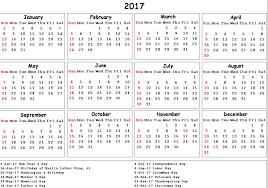 2017 calendar usa holidays