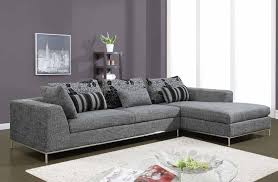 sofas with metal legs modern gray fabric 2 piece sectional with chrome frame and legs