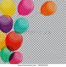birthday balloons glossy happy birthday balloons on transparent stock illustration