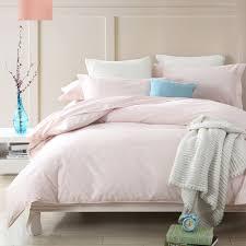 Pure Cotton Duvet Covers Satin Weave Cotton Pure Color Light Pink Duvet Cover Set Sufey
