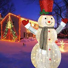 amazon com 60 u0027 u0027 led popup snowman outdoor collapsible lighted