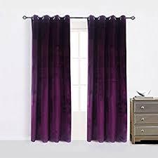Plum Velvet Curtains Purple Tab Top Velvet Curtain Drape Panel 43w X