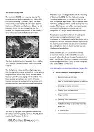 reading comprehension the great chicago fire reading