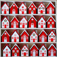 wooden advent village craft house crates and display