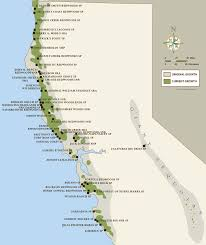 Map Of California And Oregon by California Coastal Redwood Parks