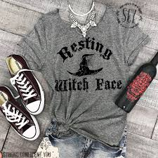 resting witch face halloween tee shirt off shoulder