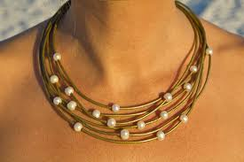 leather necklace with pearl images Learther pearl necklace pearl leather jewelry pearl jpg