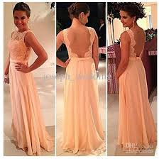 high quality back chiffon lace long peach color for sale