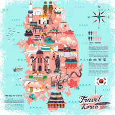 map attractions wonderful south korea travel map with attractions design royalty