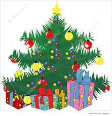 holidays christmas tree with lights and gifts stock