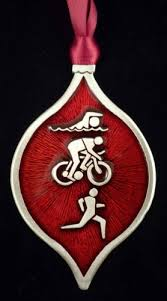 triathlon ornament made with pewter in the usa
