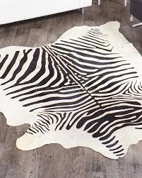 Rugs Black Zebra Print Cowhide Rug Black On White Fursource Com