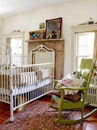 heirloom iron baby crib nursery eclectic with double window