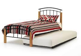 Single Wood Bed Frame 3ft Single Black Metal And Wood Bed Frame Guest Bed