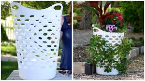 Hanging Vegetable Gardens by Laundry Basket Turned Strawberry Planter Youtube