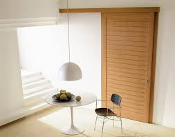 Outside Mount Sliding Closet Doors Modern Interior Sliding Door Featuring Cherry Inlaid Panel With