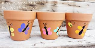 Flower Pots - thumbprint art for kids painted flower pots craft
