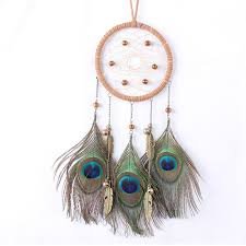 bronze peacock feathers ornaments catcher