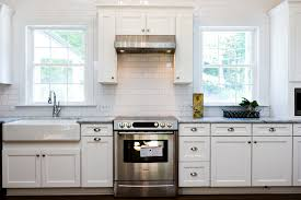 Microwave In Kitchen Cabinet by Kitchen Enovated Kitchen With White Subway Tile Marble And