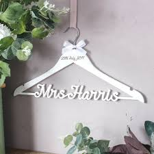 wedding dress hanger personalised white wedding dress hanger gettingpersonal co uk