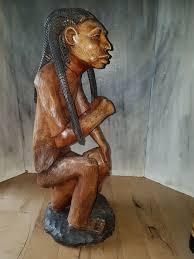 wood sculpture rasta with drum 66 cm or jamaica