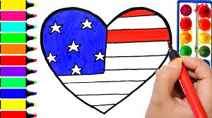 usa heart coloring page drawing american flag independence day