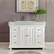 inch white finish contemporary bathroom vanity integrated carrara