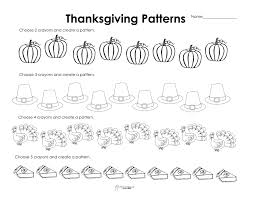 patterns in kindergarten patterns thanksgiving style free worksheet squarehead