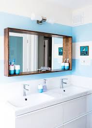 diy bathroom mirror frame for under 10 blue wood stain mirror
