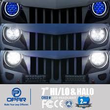 jeep wrangler blue headlights amazon com opar 7 inch led halo headlights with blue drl
