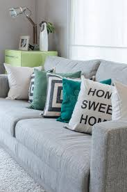 Black And Green Bedding Modern Grey Sofa With Black And White And Green Pillows Stock