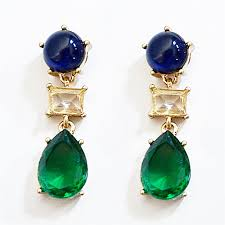 navy blue earrings color block drop earrings blue earrings with green