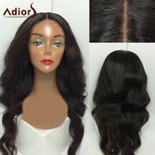 adiors middle parting shaggy long wavy synthetic wig in black