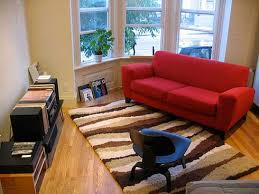 apartments brilliant single red sofa with fuzzy carpet design ans