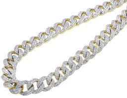 10mm diamond jewelry unlimited 10k yellow gold diamond 10mm miami cuban link