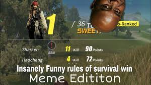 Survival Memes - rule of survival funny win meme edition youtube