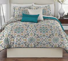 Shams Bedding King Size Teal Multi Color Abstract Floral 5 Pc Comforter W Shams