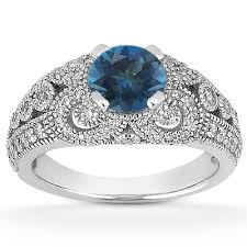 diamond rings london images Vintage style london blue topaz and diamond ring jpg